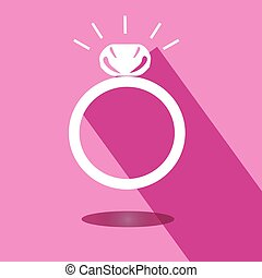 Icon wedding ring with shadow on pink background