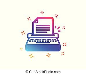 icon., wektor, poznaczcie., copywriting, maszyna do pisania