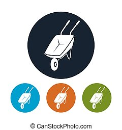 Four Types of Round Icons Wheelbarrow