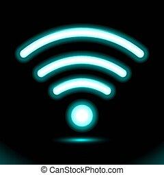 Icon wi-fi zone Blue Neon lamp, sign, button for presentation design on black background. Modern fluorescent object. Dark ad vector luminescent illumination, illustration Ui.
