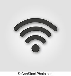 Icon wifi in a flat style on gray background
