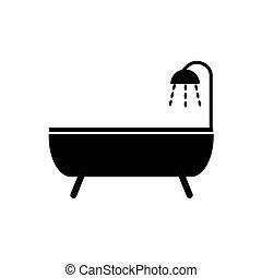 Icon with a bathtub black on a white background.