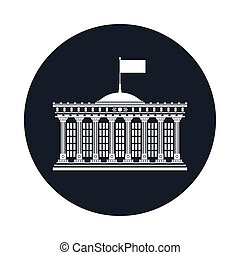 Icon with Bank House Isolated - Silhouette Bank House with a...
