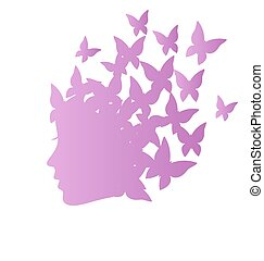 Icon with beauty woman profile with butterflies on grayscale...