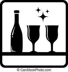 bottle and wine glass silhouette