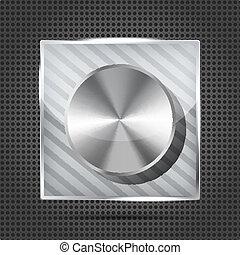 icon with chrome volume knob on the metallic background