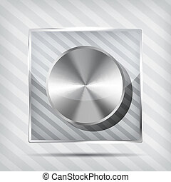 icon with chrome volume knob on the striped background