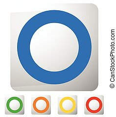 Icon with circle on square in 5 colors
