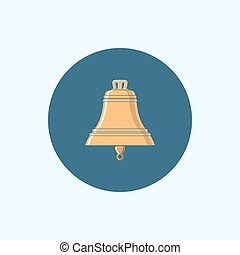 Icon with colored bell, vector illustration