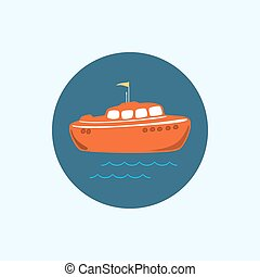 Icon with colored boat, vector illustration