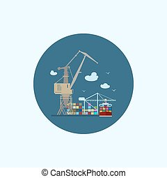 Icon with colored cargo container ship and cargo crane, vector illustration