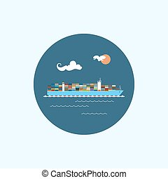 Icon with colored cargo container ship, vector illustration