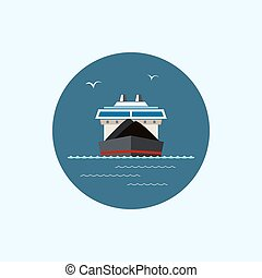 Icon with colored dry cargo ship, vector illustration