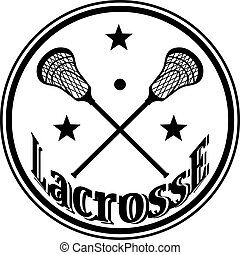Icon with crossed lacrosse sticks and stars. Vector...