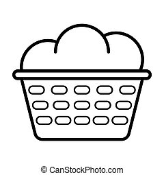 Icon with dirty laundry basket. Vector symbol illustration. Laundry icon