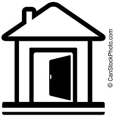open door clipart black and white. Icon With Door Open And House Clipart Black White