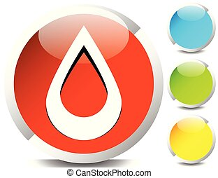 Icon with drop shape. Water or other liquid, fluid drop...