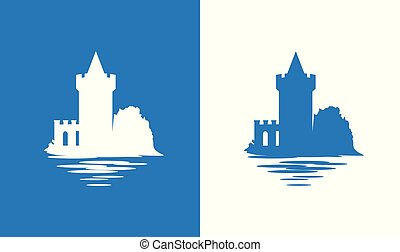 Icon with European Medieval Falkirk Castle in colors of ...