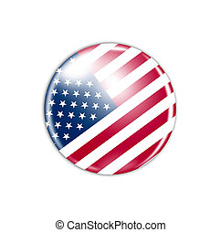 icon with flag of USA isolated on white background