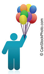 icon with Flying balloons
