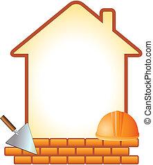 icon with helmet, trowel, bricks an
