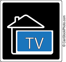 icon with home and tv