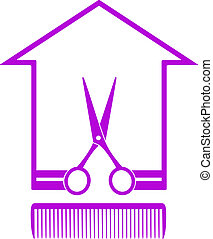 icon with house, scissors and comb - monochrome icon with...