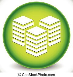 Icon with Layered Tower Symbol for Webhosting, Server,...