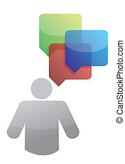 icon with message bubbles around, illustration