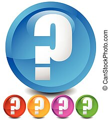 Icon with question mark in 5 color. Questions, support, quiz icon.