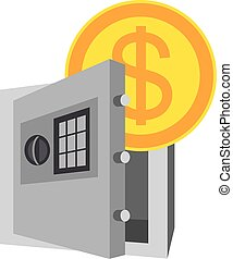 Icon with safe and money, save money