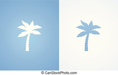 Silhouette of Coconut Palm - Icon with Silhouette of Coconut...