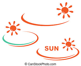 icon with sun and background