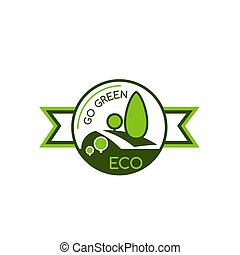 Icon with symbol of saving world environment