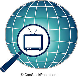 icon with TV in magnifier on planet - blue icon with TV in...