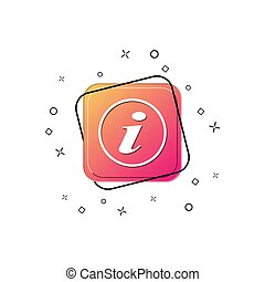Icon with white letter i. Purple square button. Flat design