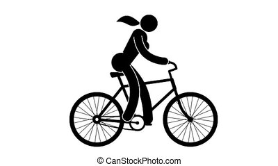 Icon woman rides bicycle. Pictogram people. Loop animation...