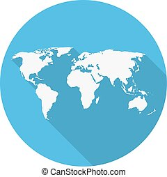 World map in a circle globe showing the whole world in a stock icon world map on a blue circle in a flat design gumiabroncs Choice Image