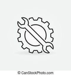 icon., wrench, 矢量, 齿轮, 概念, outline, 签署, settings