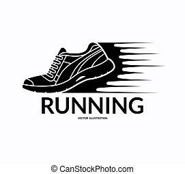 icon., wyścigi, wektor, bucik, ilustracja