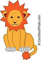 Icon yellow lion with a fiery mane on a white background