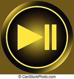 Icon yellow pause symbol