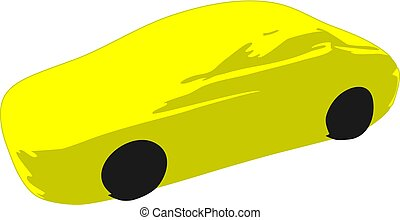 Icon yellow sport racing car on a white background.