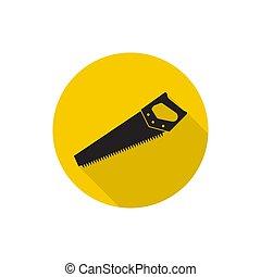 icon., zaag, hand