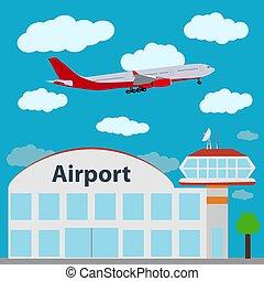 icona, aeroporto, vettore, illustration.