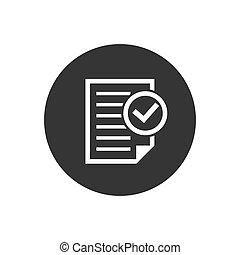 icona, affari, processo, approvato, bianco, isolato, fondo., style., conformità, checkmark, documento, illustrazione, grigio, appartamento, vettore