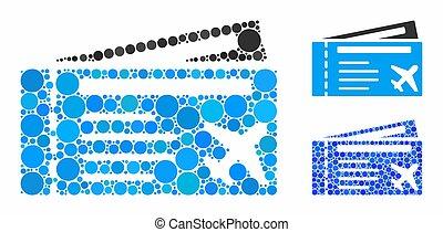 icona, airtickets, punti, mosaico, cerchio