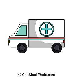 icona, ambulanza, veicolo