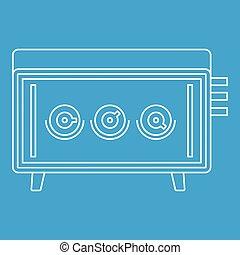 icona, apparecchiatura, stile, musicale, contorno