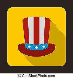 icona, appartamento, americano, cappello, stile